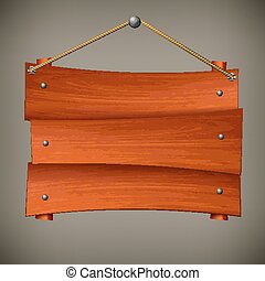 Wooden board on rope