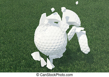 3D illustration Golf ball Scatters to pieces after a strong...