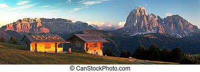 Sella Gruppe or Gruppo di Sella and Langkofel - Evening...