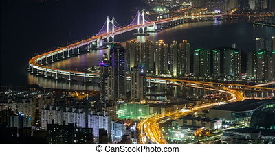 Busan, South Korea aerial view timelapse at night