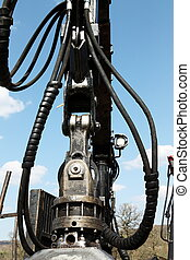 Greasy Hydraulic Arm Detail - Close up detail of a greasy...