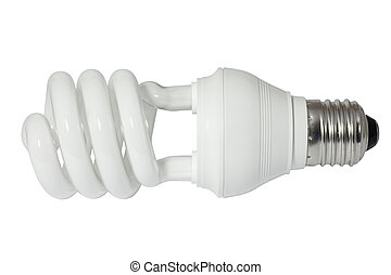 Energy saving fluorescent light bulb (CFL). Isolated on...