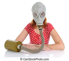 The person with gas mask - The woman with gas mask on a...