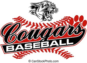 cougars baseball team design in script with mascot head for...