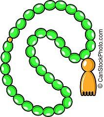 ícone, verde, estilo, rosário, caricatura