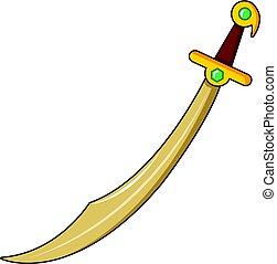 Scimiter sword icon, cartoon style - Scimiter sword icon....
