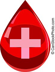 Red drop of blood with cross icon, cartoon style