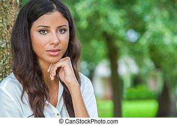 Beautiful Thoughtful Hispanic Woman