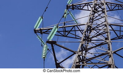 Electric support with insulators of high voltage wires....
