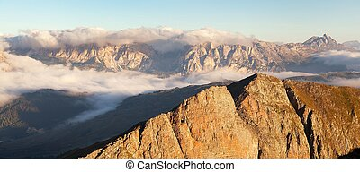 Morning view from Col di Lana to Gruppo Puez, South Tirol,...