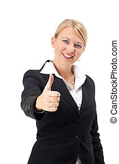 business woman giving thumbs-up-sign