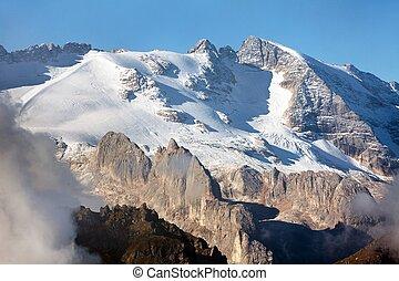 Marmolada, the highest mount of Dolomites mountains - View...
