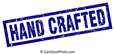 square grunge blue hand crafted stamp