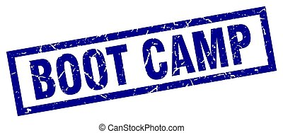 square grunge blue boot camp stamp
