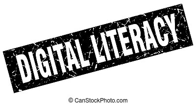 square grunge black digital literacy stamp