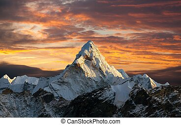 Evening panoramic view of mount Ama Dablam with beautiful...