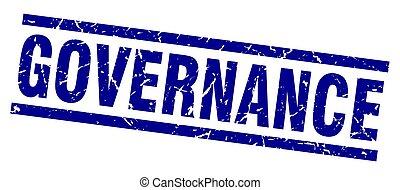square grunge blue governance stamp