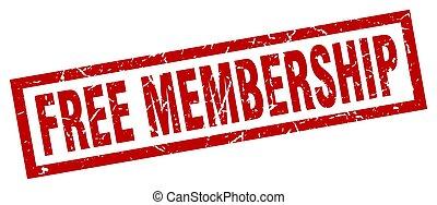 square grunge red free membership stamp