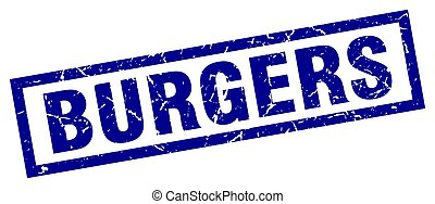 square grunge blue burgers stamp