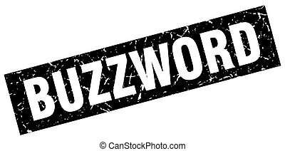 square grunge black buzzword stamp