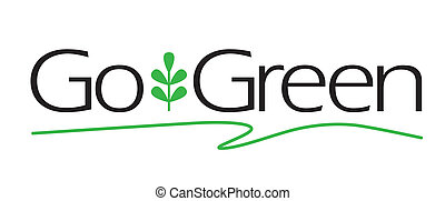 Go Green Type - Go Green vector type with plant icon.