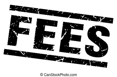 square grunge black fees stamp
