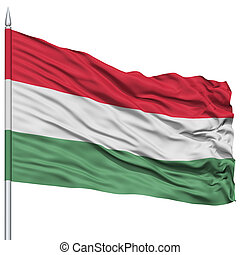 Hungary Flag on Flagpole , Flying in the Wind, Isolated on...