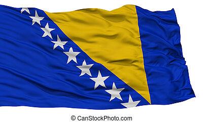 Isolated Bosnia and Herzegovina Flag, Waving on White...