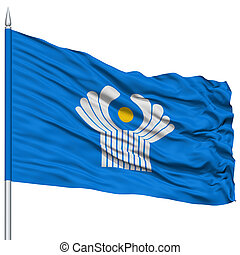 CIS Flag on Flagpole , Flying in the Wind, Isolated on White...