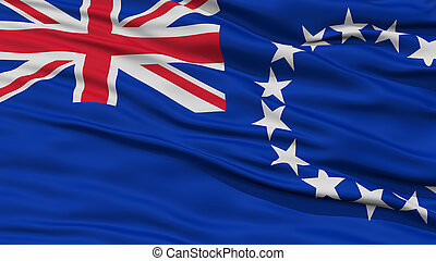 Closeup Cook Islands Flag, Waving in the Wind, High...