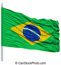 Brazil Flag on Flagpole, Flying in the Wind, Isolated on...