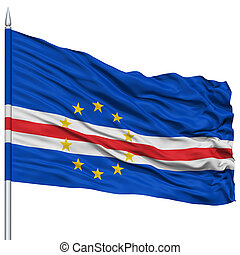 Cape Verde Flag on Flagpole , Flying in the Wind, Isolated...
