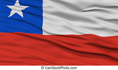 Closeup Chile Flag, Waving in the Wind, High Resolution