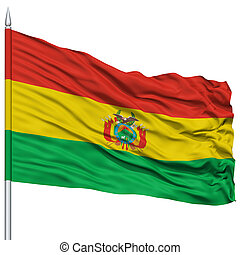 Bolivia Flag on Flagpole, Flying in the Wind, Isolated on...