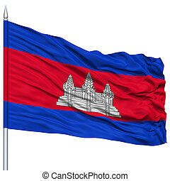 Cambodia Flag on Flagpole, Flying in the Wind, Isolated on...