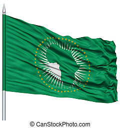 African Union Flag on Flagpole, Flying in the Wind, Isolated...