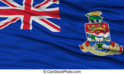 Closeup Cayman Islands Flag, Waving in the Wind, High...