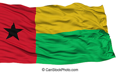 Isolated Guinea Bissau Flag, Waving on White Background,...