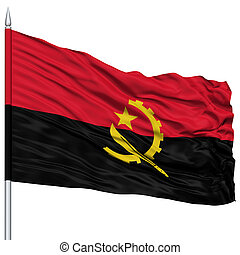 Angola Flag on Flagpole, Flying in the Wind, Isolated on...