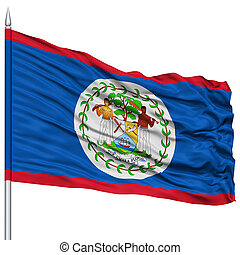 Belize Flag on Flagpole, Flying in the Wind, Isolated on...