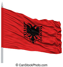 Albania Flag on Flagpole, Flying in the Wind, Isolated on...
