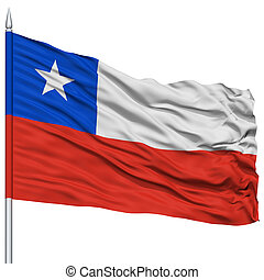 Chile Flag on Flagpole , Flying in the Wind, Isolated on...