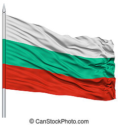 Bulgaria Flag on Flagpole, Flying in the Wind, Isolated on...
