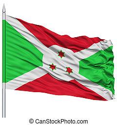 Burundi Flag on Flagpole, Flying in the Wind, Isolated on...