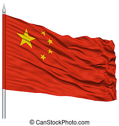 China Flag on Flagpole , Flying in the Wind, Isolated on...