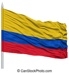 Colombia Flag on Flagpole , Flying in the Wind, Isolated on...