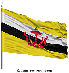 Brunei Flag on Flagpole, Flying in the Wind, Isolated on...