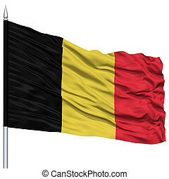 Belgium Flag on Flagpole, Flying in the Wind, Isolated on...