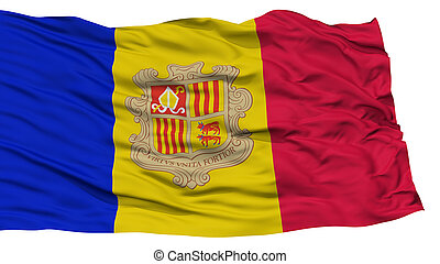 Isolated Andorra Flag, Waving on White Background, High...