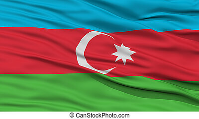 Closeup Azerbaijan Flag, Waving in the Wind, High Resolution